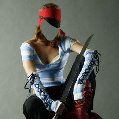 Шаблон женский - Пиратка с мечом