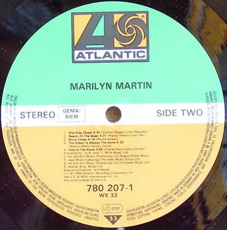 MARILYN MARTIN - MARILYN MARTIN (1986), Vinyl-rip