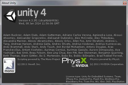Unity 3D Pro ( v.4.3.3 f1, 2014, ENG )